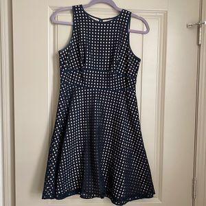 Loft Petite A-line Cut Out Dress, Navy Blue, 4P